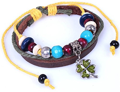 SaySure - Lucky four-leaf wood beaded bracelets handmade - 14k Yellow Gold Leaf
