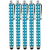 ONX3 ® Blackberry Z3 Polka capacitiva di alluminio dello stilo della penna di tocco (5 Pack) (Baby Blue)