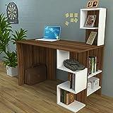 Homidea DERONI Schreibtisch - Computertisch mit Regal in Modernem Design (Weis/Nussbaum)