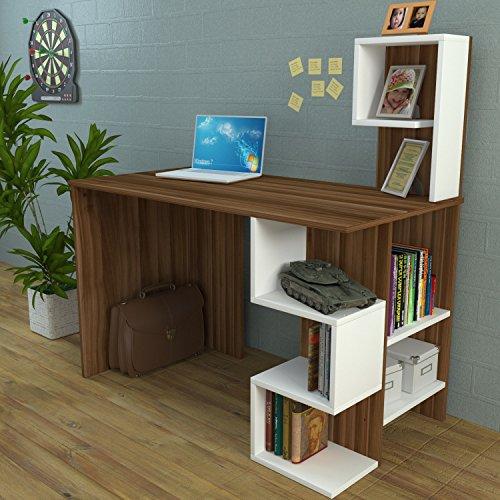 Deroni scrivania - scrivania per computer - scrivania ufficio - porta pc - tavolo per computer con scaffale ripiano (noce/bianco)