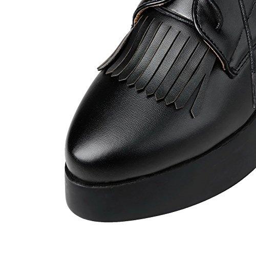 VogueZone009 Femme Pu Cuir à Talon Bas Rond Lacet Couleur Unie Chaussures Légeres Noir