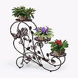 HLC-Bronze Porte Pots Plante Fleurs 3 Etagere Support Jardin en Metal Fer...