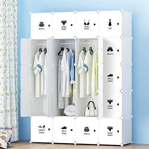 ETTBJA DIY Plastik Schrank Portable Kleiderschrank Lagerung mit Aufkleber Design ihre eigenen (20 Würfel mit 3 hangers)