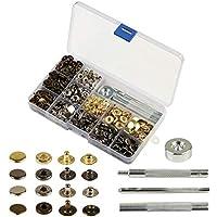 160 sets de corchetes metal artesanía KAKOO de kit snap botón para reparar chaqueta de 12.5mm snaps botones de presión de cuero de herramineta conjunto bronce presión de vaquero