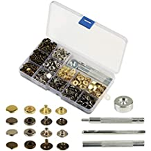 160 sets de corchetes metal artesanía KAKOO de kit snap botón para reparar chaqueta de 12.5