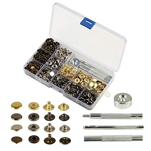 KAKOO 160 Set Metall Druckknöpfe, Metallknöpfe Snaps Button Knöpfe 12.5MM Schnappverschluss mit 4tlg Werkzeug Locheisen in Box für Jeans Leder Stoff Handwerk