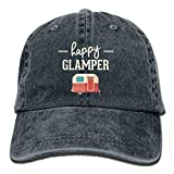 ewtretr Happy Camp Happy Glamper Vintage Washed Dyed Cotton Twill Low Profile Baseball Cap Black Adjustable Unisex Suitable for All Seasons