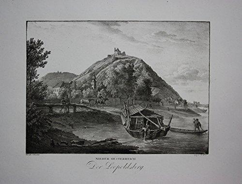 Leopoldsberg Wien Döbling Original Lithographie Kunike