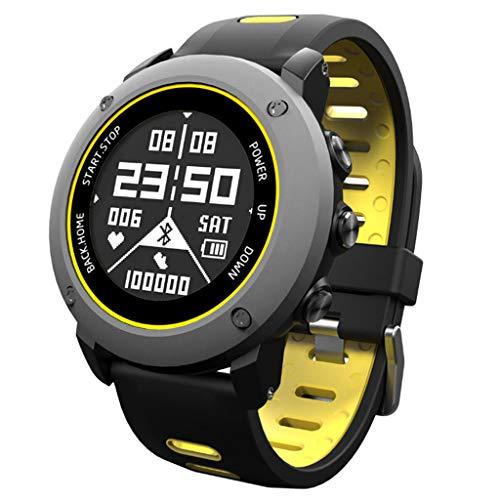 Happysdh Smart Armband Bluetooth Fitness-Tracker GPS Intelligente Uhr Herzfrequenz-Überwachung Schlafüberwachung Informationen erhalten IP68 wasserdicht Kompatibel mit Android und IOS (Gelb)
