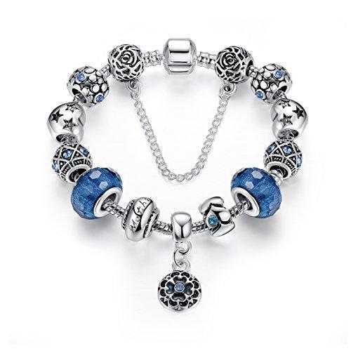 Bracelet Verre de Murano avec Fleurs Pendentif,bijoux fantaisie,Cadeau parfait pour les fêtes anniversaires,Cadeau pour femmes filles