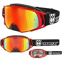 TWO-X – Gafas de cross Rocket, cristal de reflejo de iridio - Gafas MX, protección de nariz para motocross. Gafas de espejo Enduro. Gafas para moto, antiarañazos, gafas protectoras MX