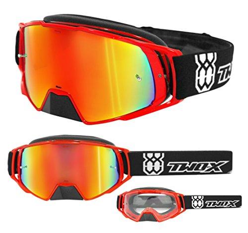 TWO-X Rocket Crossbrille rot Glas verspiegelt Iridium MX Brille Nasenschutz Motocross Enduro Spiegelglas Motorradbrille Anti Scratch MX Schutzbrille Nose Guard