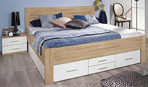 Rauch Bett mit 6 Schubkästen Eiche Sonoma/alpinweiß 160 x 200 cm Schubladenbett Funktionsbett