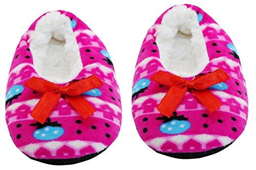 Neskamoda Kid's Pink Cotton Fur Winter Indoor Slippers - Group 4 - 6 Years Old