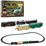 Elektrische Eisenbahn Starter-Set mit Licht- und Soundeffekte, Lokomotive inkl. Wagons, lange Eisenbahnstrecke und viel Zubehör, Komplett-Set