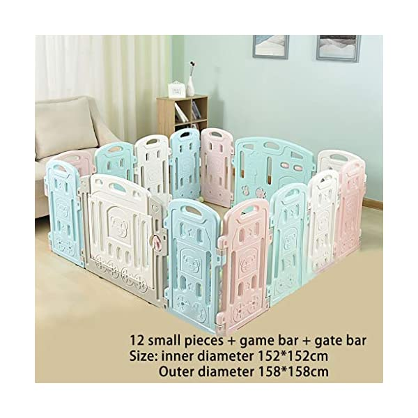 Baby Playpen HUYP Baby Fence Panels Baby Guard Fence Children's Foldable Playpen With Door Pet Fence (Size : 12 small pieces) Baby Playpen  2