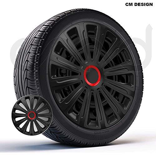 CM DESIGN 4 x 16 Zoll Trend RR Schwarz/Rot Auto-Radkappen Radzierblenden
