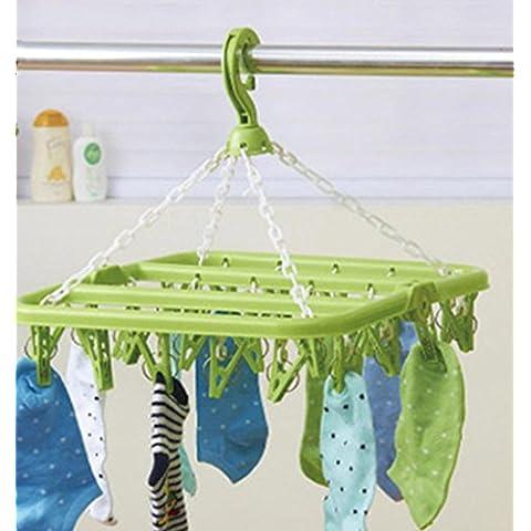 GYMNLJY Calzini rack 32 clip pieghevole antivento multifunzione Baby Home scaffali di plastica quadrata (confezione da 2) , green - Guanto Secco Gancio