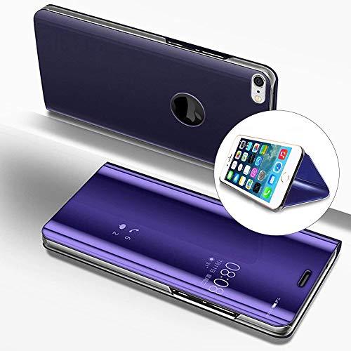 LCHDA iPhone 7 Plus 8 Plus Spiegel Ledertasche klapphülle Lila Brieftasche Schutzhülle Handyhülle Durchsichtig Clear View Flip Mirror Case Stoßdämpfend Standfunktion Magnetverschluß Handytasche 4.7