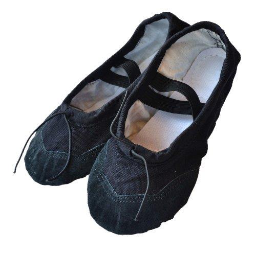 Baysa - Zapatillas de ballet de lino con refuerzo de cuero - Negro - Talla 33