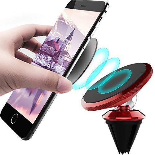 CLM-Tech Kfz Smartphone-Halter, 360° einstellbare Handyhalterung universal mit Magnet, Auto-Halterung Lüftung Lüftungsgitter für Handys, rot