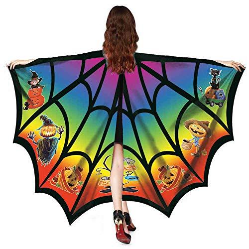 OverDose Damen Frauen Männer Halloween Print Fledermaus Schal Weichgewebe Schmetterlingsflügel Schal Fee Damen Nymphe Pixie Halloween Cosplay Kostüm Zubehör(Mehrfarbig,130 * ()