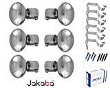 JAKABA Premium Quality Silver Finish Stainless Steel and Alloy Curtain Finials with Heavy Supports - PACK of 12 Pcs. (Finials : 6 Pcs + Supports : 6 Pcs) : Curtain Brackets Set / Holders for Window / Door - JKB100303