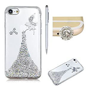 For iPhone 7 Plus Silicone Shiny Case,SKYXD Glitter Luxury Bling Clear Gel Flexible Bumper Protective Case Back Cover for iPhone 7 Plus(5.5