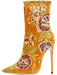 ENMAYER Zapatos de satén para mujer delgados tacones altos Botines de punta y del tobillo con punta en invierno