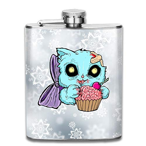 (Zombie Cat Cupcake Stainless Steel Liquor Flagon Retro Pocket Flask\Stainless Steel Travel Flask Great Little Gift,Safe And Nontoxic)
