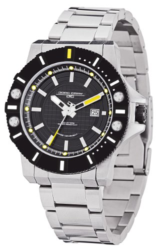 Jorg Gray Men's Analogue Watch JG9500-22 with Black Dial and Stainless Steel Bracelet