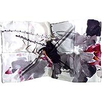 Bees Knees Fashion - Sciarpa - Bianco grigio floreale stampa lussuosa sciarpa di seta lunga puro