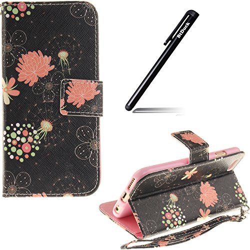 Schutzhülle für iPhone 6s Plus Tasche Gold,BtDuck Solide Slim PU Leder Flip Cover Hülle Lanyard Ledertasche Wallet Case Blossom Blume Elegant Embrossed Handytasche für iPhone 6 Plus 5,5 Zoll Cases Etu Gurt,blossom