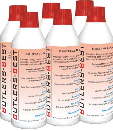KRISTALLKLAR ENERGY - Wasserzusatzkonzentrat für Brunnen, Wasserwände, -säulen, -kaskaden und Vernebler im Innen- und Außenbereich - 6 x 250 ml Flasche