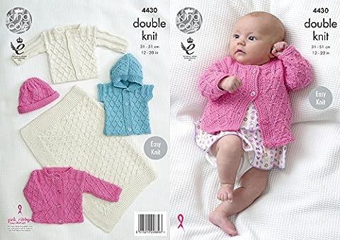 King Cole Baby Double Knitting Pattern Easy Knit Blanket Jackets Gilet & Hat Cottonsoft DK (4430)
