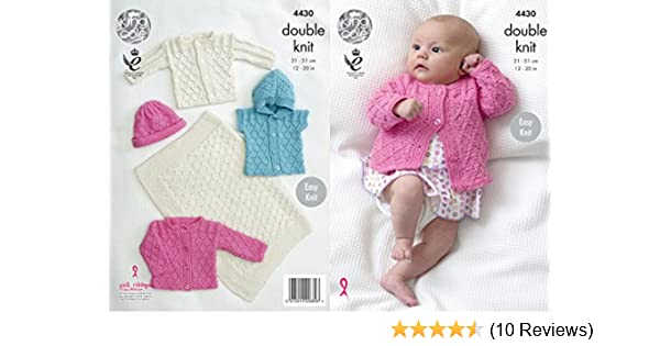9b21aa686 King Cole Baby Double Knitting Pattern Easy Knit Blanket Jackets ...