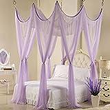 LISABOBO Rosa vier Ecke Moskitonetz Baldachin Bett, Schlafzimmer mit Home Deckenhaken Moskito Vorhang - Violett 180 x 220 cm (71 x 87 Zoll)