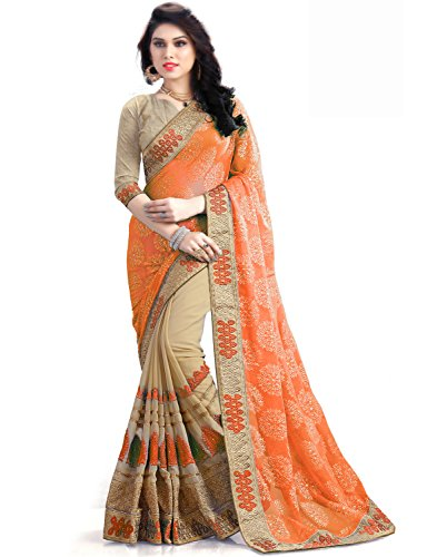Sasimo Women's Clothing Georgette Saree Latest Party Wear Design Free Size Saree...