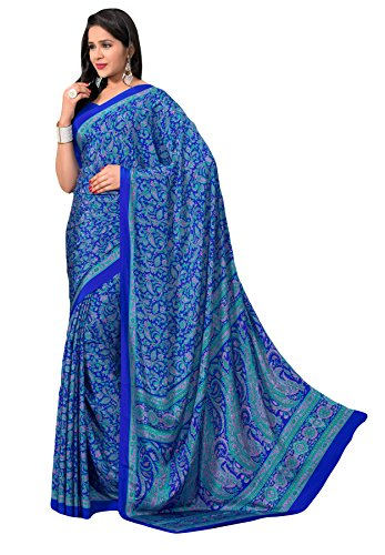 Salwar Studio Women's Blue & Pink Italian Creape Floral Printed Saree With Blouse Piece