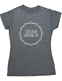 Hippowarehouse College Survival Kit Kit Womens Fitted Short Sleeve t-Shirt (Specific Size Guide In Description)