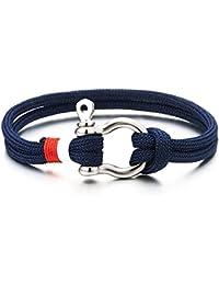 Bracelet Vis Manilles d'ancrage - Homme Femme - Marin Bleu Sur Cordon - Nautique Marin Envelopper Bracelet