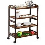 ERRU-Lagerung Regale Lagerregal-Küchen-Wagen mit Rädern Wohnzimmer-Boden-stehender mehrschichtiger Regal-beweglicher Vollenden-Zahnstange ( Farbe : Braun )