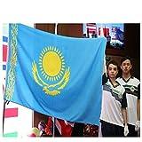 Bandiera del Kazakistan Double Headed Eagle 90x167cm National Flag Parade/Festival / Decorazione della casa - Giallo e Blu