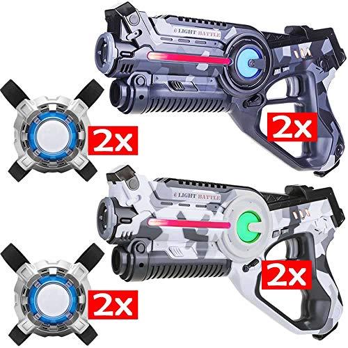 Light Battle Active Laser tag Game - 4 Pistolets de Jeu Laser (Gris Camo, Blanc Camo) + 2X Laser Tag Plastrons - LBAPV24467