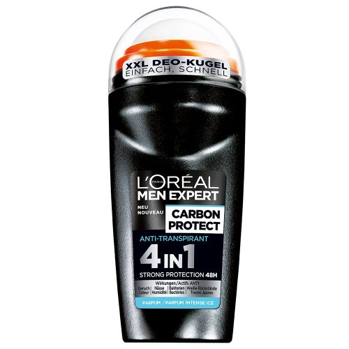Männer Deo Roll (L'Oréal Men Expert Deodorant Carbon Protect 4in1 Roll-On, 48h Schutz, 6er Pack (6 x 50 ml))