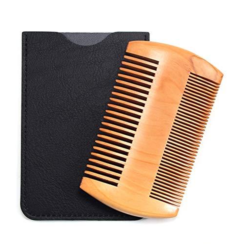 Gaddrt pettine in legno pettine anti statico legno pettine con denti fini grossolani per barba