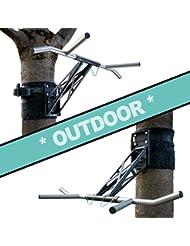 Pullup & Dip Klimmzugstange und Dip-Stange mobil für Wand + Befestigung an Baum/Pfosten, Indoor zu Hause + outdoor im Garten, PREMIUM Qualität, WELTNEUHEIT, Über 25 Übungen, Edelstahl & Stahl