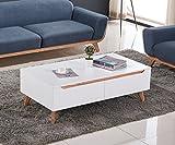 ComptoirXL Table Basse Design scandinave AIKA chêne et Blanc 120 cm x 65 cm 4 tiroirs