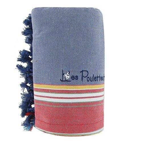 Kikoy Strandtuch Baumwolle - Farbe Blaue Jeans - Blau Jean (Kik Jeans)