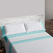 Burrito Blanco Juego de sábanas 451 Turquesa de cama de 150x190/200 cm